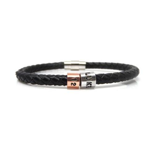 Personalised 12th Birthday Leather Bracelet – Gift Boxed – Free Delivery